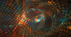 4K abstract multicolored particle motion background seamless looping fractal Stock Footage