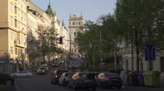 Cars in Prague 3 waiting on a sunny springy day in 2016. Stock Footage