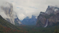 Time lapse of a spring storm blowing though Yosemite - stock footage