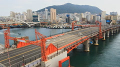 """Busan, view of the drawbridge """"Yondó"""" (time-lapse) - stock footage"""