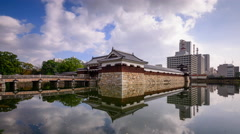 Hiroshima Japan Castle Moat Stock Footage