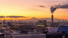 Mt. Fuji and Factories - stock footage
