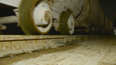 Freight Carriages go by Rail. Closeup. Underground Construction of Subway Stock Footage