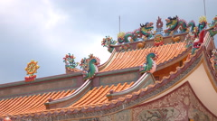 Temple Wat Mungkorn buppharam measure China's ethnic Chinese in Thailand. Stock Footage