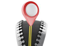 3d Zipper open with road and map pointer - stock illustration