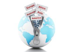 3d Globe with zipper open and signpost with continents - stock illustration