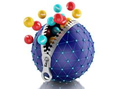 3d Network globe with zipper. Network Communications concept. Stock Illustration