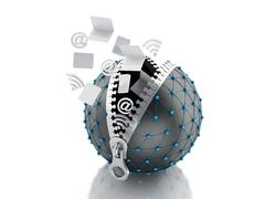 3d Network globe with zipper. Network Communications concept. - stock illustration