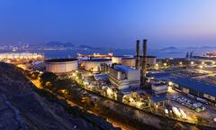 petrochemical industrial plant at night - stock photo