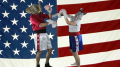 Political parties throwing punches against American Flag - stock footage