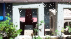 Water spraying on clear glass for cleaning, Shot on SONY A6300 in 4K UHD. Stock Footage