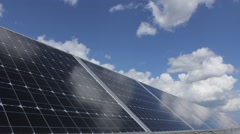 Solar Panels and Puffy Cloud Lapse Stock Footage