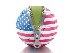 3d Soccer ball with flag of United states - stock illustration