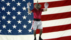 Republican Victory Dance against American Flag - stock footage