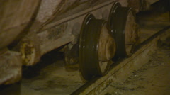 View of Freight Carriages Slow go by Rail. Closeup.underground Construction of Stock Footage