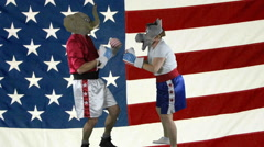 Republican knock-out punch against American Flag Stock Footage