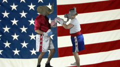 Democrat political party knock-out against American Flag - stock footage