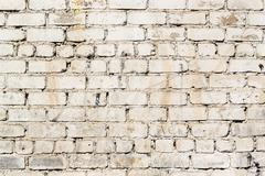 Grimy and dirt stained painted brick wall with marks and deterioration signs  - stock photo