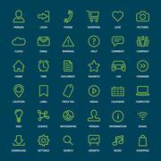 Set of basic green outline icons for print or web Stock Illustration