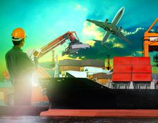 Man working in shipping port Stock Photos
