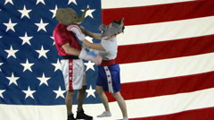 Political parties choking against American Flag Stock Footage