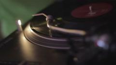 Night club atmosphere, professional audio equipment, spinning vinyl record Stock Footage