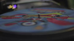Spinning colored vinyl record and audio equipment in the nightclub. Nightlife Stock Footage