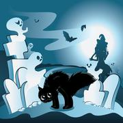 Cartoon Cemetery with Ghosts - stock illustration