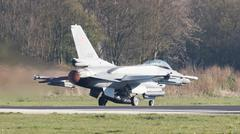 LEEUWARDEN, THE NETHERLANDS - APRIL 11, 2016: Polish Air Force Lockheed F-16C Stock Photos