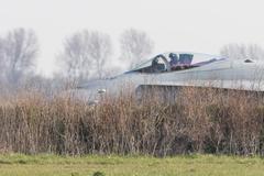 LEEUWARDEN, NETHERLANDS - APRIL 11, 2016: Finish Air Force F-18 Hornet landin - stock photo