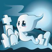 Cute ghost on cemetery - stock illustration