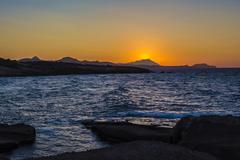 Beautiful sunset at the island of Milos. Stock Photos