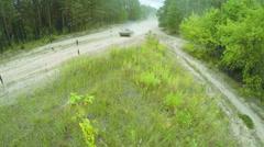 Tank in a firing field - stock footage