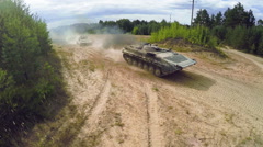 Tanks in a field Stock Footage