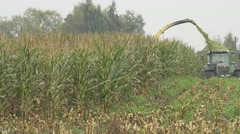 Combine and tractor with trailer harvest maize corn plants on farm field. 4K Stock Footage