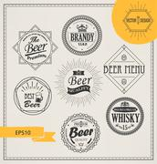 Vector alcohol logos and emblems - stock illustration