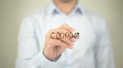Coupon   ,  man writing on transparent wall Stock Footage