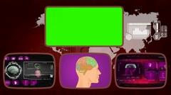 Brain digital - Medical Monitor - Advanced Research - World - purple 02 Stock Footage