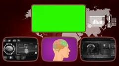 Brain digital - Medical Monitor - Advanced Research - World - grey 02 Stock Footage