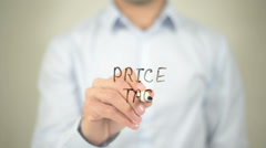 Price Tag   ,  man writing on transparent wall Stock Footage