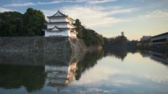 Nagoya Castle Outer Moat and Lookout Tower Stock Footage