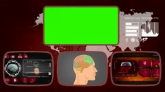 Brain digital - Medical Monitor - Advanced Research - World - red 03 Stock Footage
