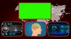 Brain digital - Medical Monitor - Advanced Research - World - blue 01 Stock Footage