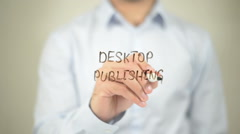 Desktop Publishing   ,  man writing on transparent wall Stock Footage