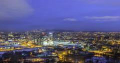 Panarama Oslo at dawn. Norway. Zoom. TimeLpase Stock Footage