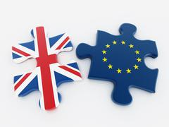 Britain and European Union flags on puzzle parts - stock illustration