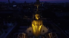 Aerial of Big Buddha at Wat Intharawihan Stock Footage