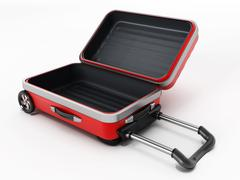 Red suitcase with open lid - stock illustration