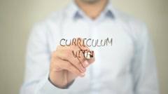 Curriculum Vitae   ,  man writing on transparent wall - stock footage