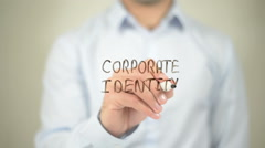 Corporate Identity   ,  man writing on transparent wall - stock footage
